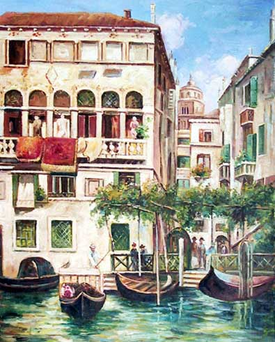 Museum Quality Oil Painting#CST-73:Venice Scenery