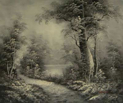 Land Sea Nature Oil Painting 529Nature Black White Forest