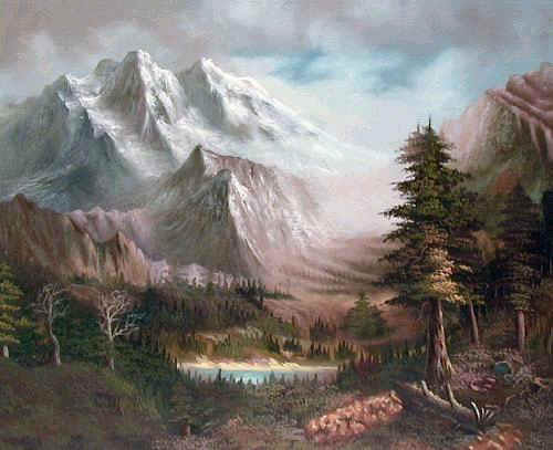 Land, Sea & Nature Oil Painting #533:Mountains Woods Trees Lake