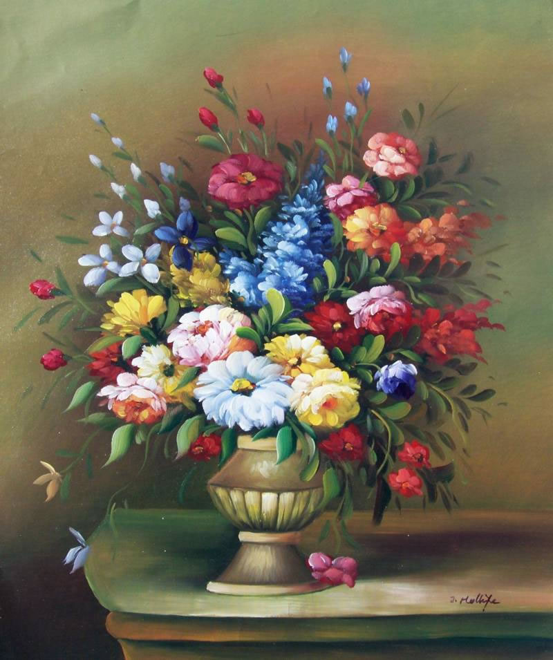 Still Life Oil Painting #539: Still Life Antique Vase Flowers