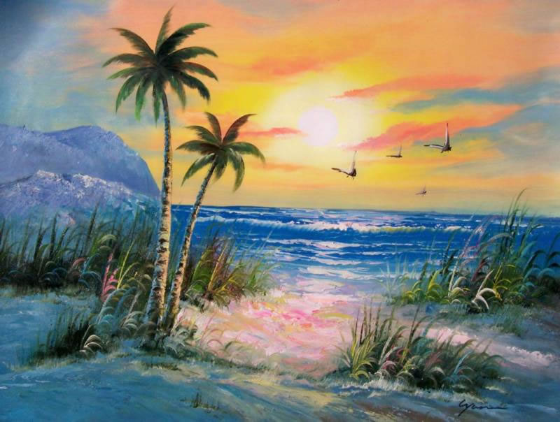 Oil paintings frames for Painting palm trees
