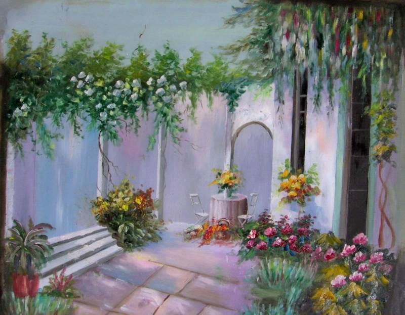 Mediterranean Oil Painting #586:Courtyard Mexican Home Flowers M