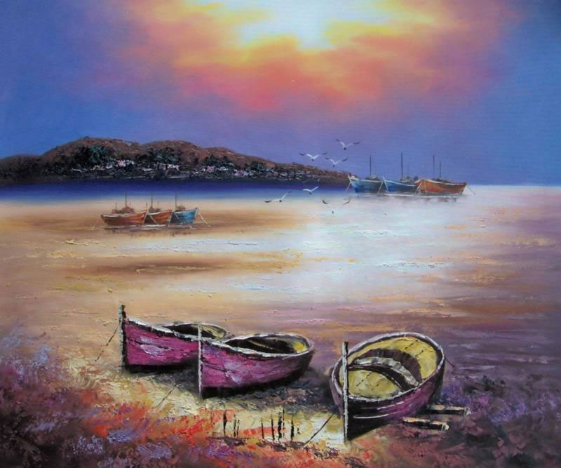 Mediterranean Oil Painting #543:Boats At Shore Sunset Beach Medi