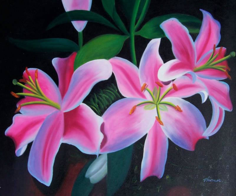 High Quality Flower Oil Painting #F032-593:Floral Art Pink Flowe