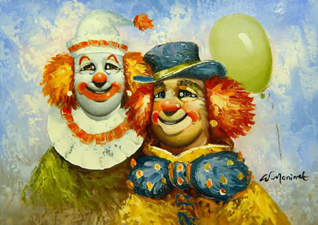 Modern Portraits Oil Painting #595:Clowns Balloons Modern Art