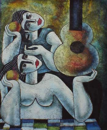 Modern Portraits Oil Painting #596: Abstract Sisters Guitar