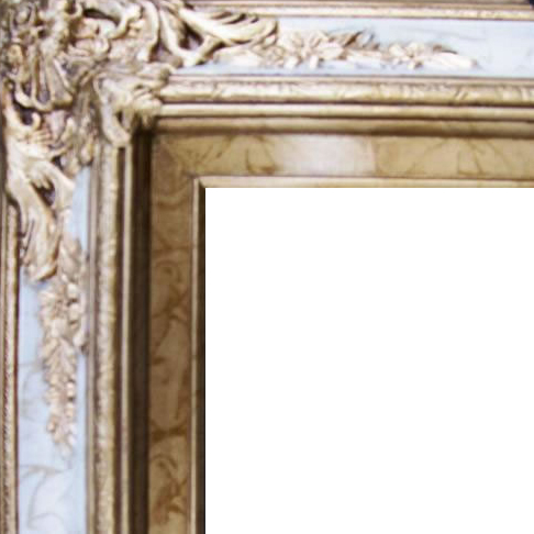 4.5 Inch Wide Ornate Pine Frame Gold Marble