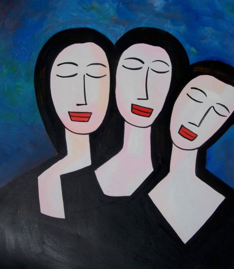 Modern Portraits Oil Painting #607: Three sisters Portrait Modig