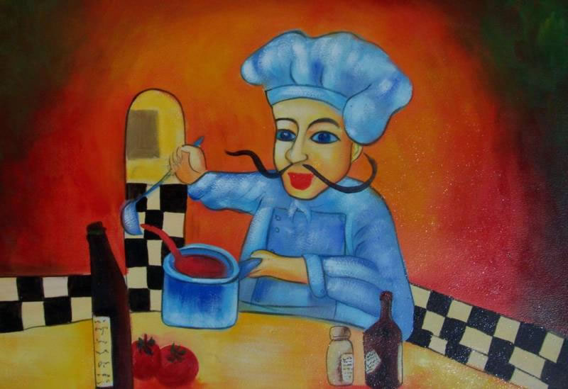 European Scenes Oil Painting #H387-609:European Chef Cooking