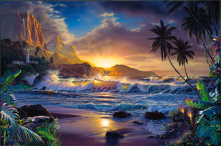Museum Quality Oil Painting #J1:Tropical Beach Sunset Palm Trees