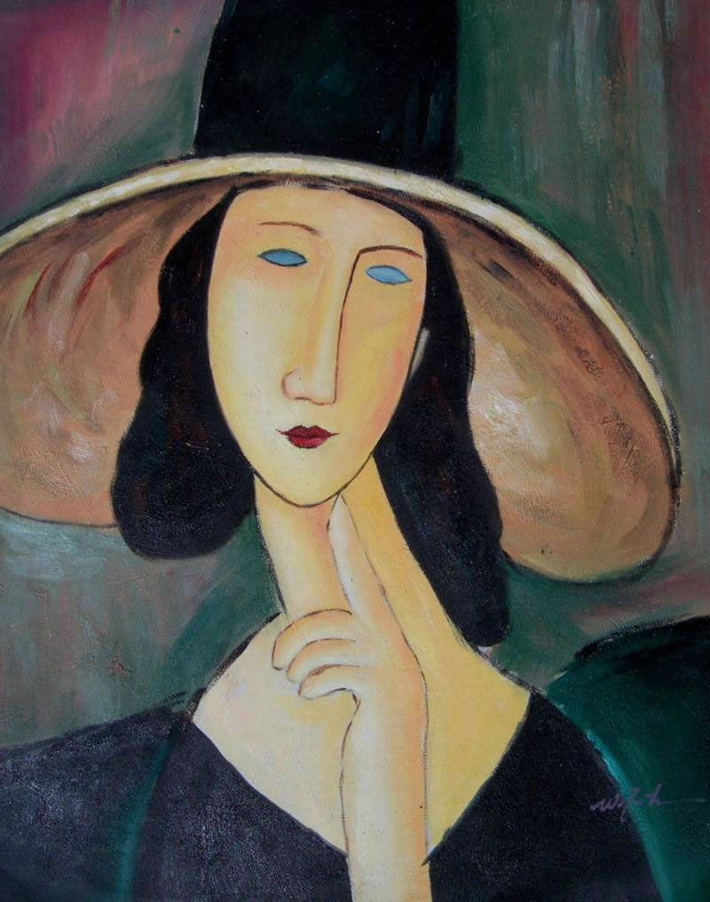 Modern Portraits Oil Painting #629:Modigliani Thinking Woman Hat