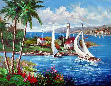 Italian & Mediterranean Oil Painting #MED118:Venice Homes Boats