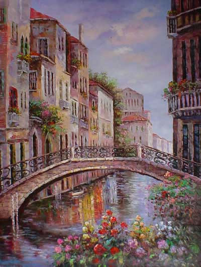 Italian & Mediterranean Oil Painting #MED163:Venice Canals Flowe