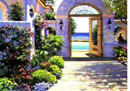 Italian & Mediterranean Oil Painting #MED178:Mexican Beach House