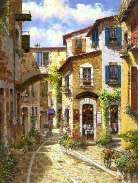 Italian & Mediterranean Oil Painting #MED259:Mexico City Homes &