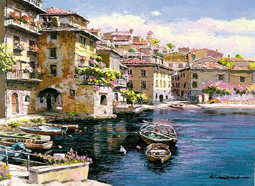 Italian & Mediterranean Oil Painting #MED262:Italian Homes Beach