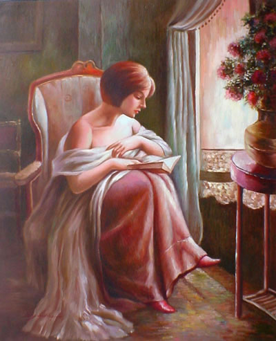 High Quality Portrait Oil Painting #PA294:Classy Woman Reading P