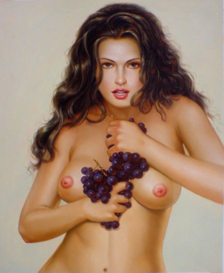 High Quality Portrait Oil Painting #PA418: Sexy Art Nude Woman G