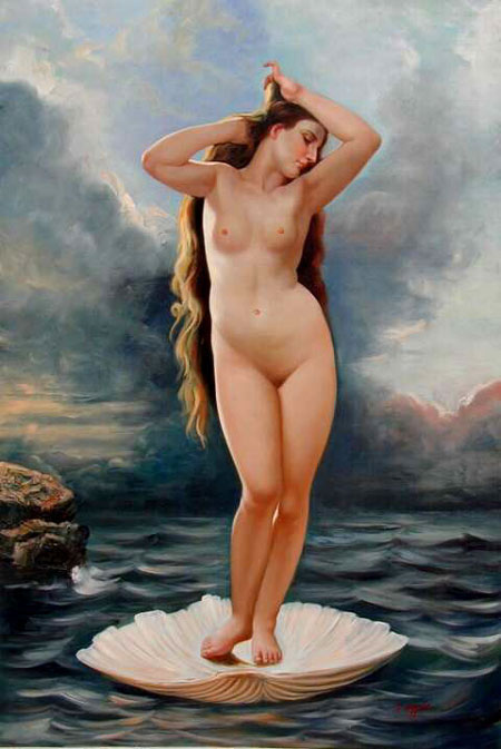 High Quality Portrait Oil Painting #PA505: Venus Nude Woman Ocea