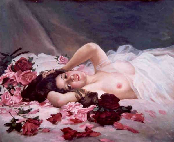 High Quality Portrait Oil Painting #PA671:Nude Woman In A Bed of