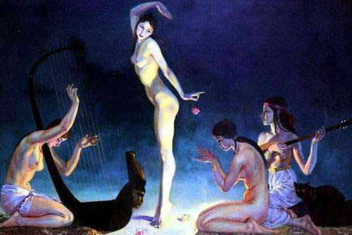 Museum Quality Oil Painting #PD 337:Nude Woman Musicians Dancers