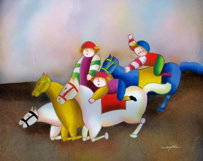 Modern Oil Painting #647: Antonio Roybal Kids Derby Riding Horse