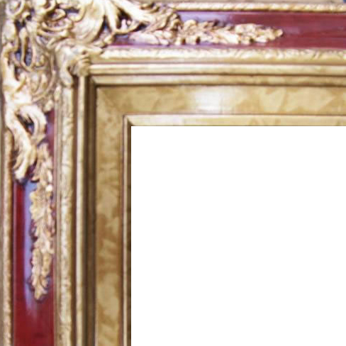 4.5 Inch Wide Ornate Pine Frame Red Marble