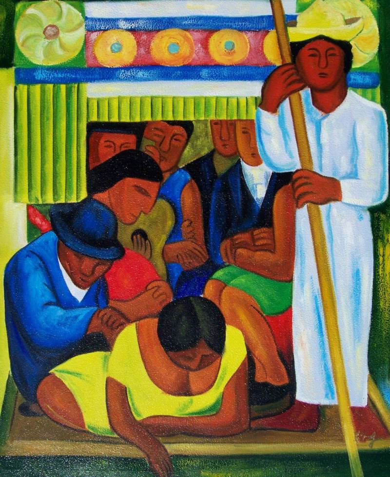 Mexican Art Oil Painting #RV027-651:Diego Rivera Mexican Art Boa