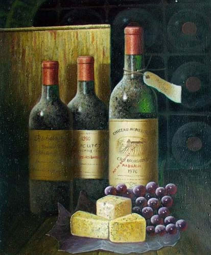 High Still Life Oil Painting #S004:Still Life Wine Cheese Grapes