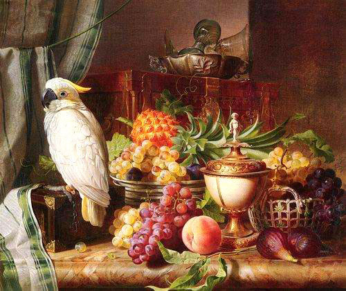 High Still Life Oil Painting #S061:Still Life Bird Fruits Grapes