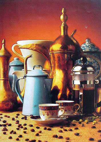 High Still Life Oil Painting #S123:Still Life Cofee Beans Kettle
