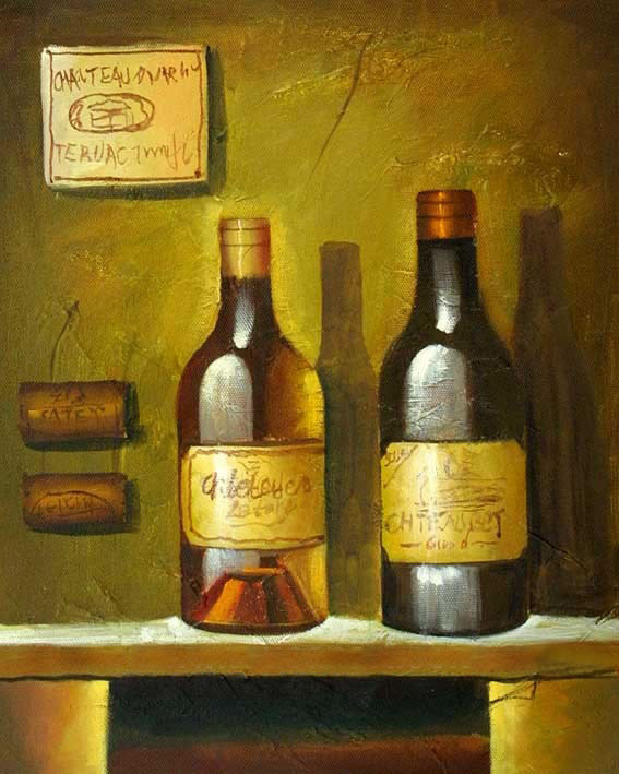 High Still Life Oil Painting #S242:Still Life French Whine Bottl