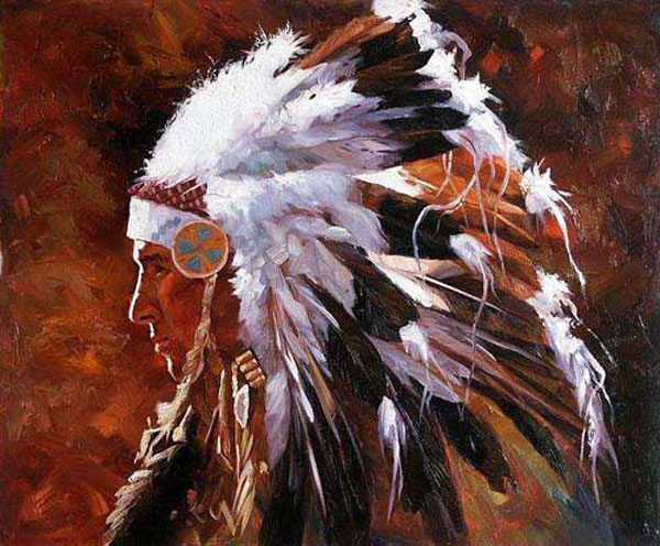 American Southwest Oil Painting #SCB096:Abstract Native American