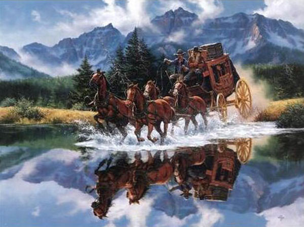 American Southwest Oil Painting #SCB111:Cowboys Horse & Carriage