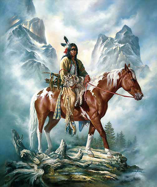 American Southwest Oil Painting #SCB112:American Indian Riding H
