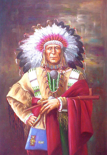 American Southwest Oil Painting #SCB132:Native American Man Port