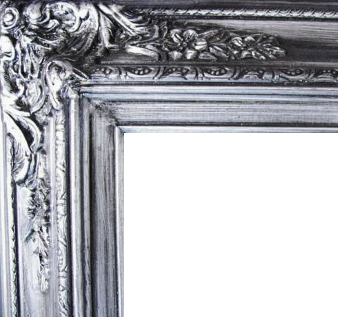 4.5 Inch Wide Ornate Pine Frame Silver
