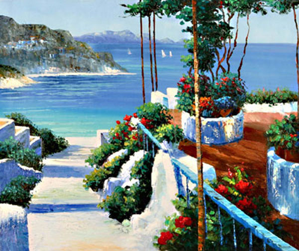 Italian & Mediterranean Oil Painting #SMED027:Italy Lake View Me