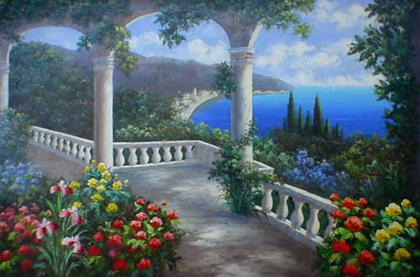 Italian & Mediterranean Oil Painting #SMED144:Garden Home Sailin
