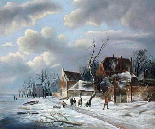 Christmas Scenes Oil Painting #SN016:Snowscape Christmas Scene C