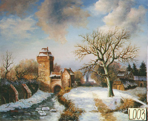 Christmas Scenes Oil Painting #SN025:Snowscape Christmas Scene V