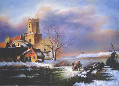 Christmas Scenes Oil Painting #SN037:Snowscape Christmas Scene C