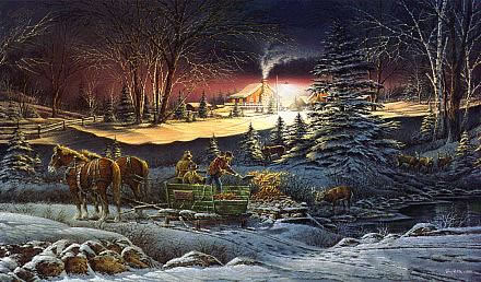 Christmas Scenes Oil Painting #SN040:Snowscape Christmas Scene H