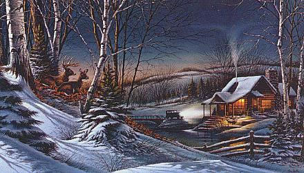Christmas Scenes Oil Painting #SN043:Snowscape Christmas Scene R