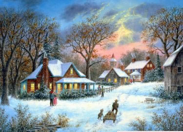 Christmas Scenes Oil Painting #SN045:Snowscape Christmas Scene C