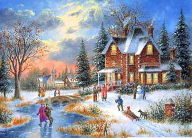 Christmas Scenes Oil Painting #SN048:Snowscape Christmas Scene C