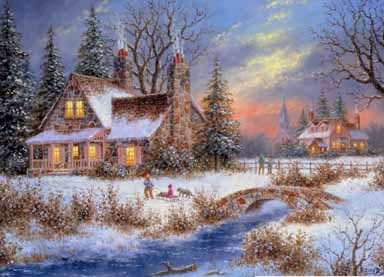Christmas Scenes Oil Painting #SN054:Snowscape Christmas Scene C