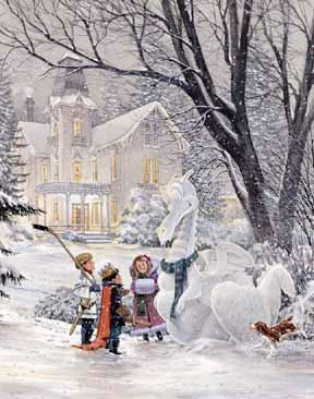 Christmas Scenes Oil Painting #SN055:Snowscape Christmas Scene S
