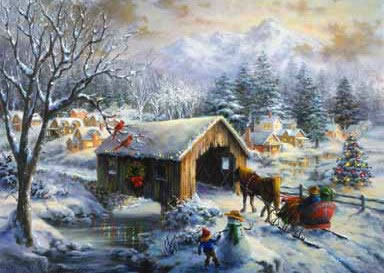Christmas Scenes Oil Painting #SN056:Snowscape Christmas Scene S