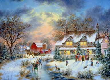 Christmas Scenes Oil Painting #SN057:Snowscape Christmas Scene F